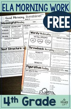 Free ELA Morning Work Grades 3-5. Grab your FREE WEEK to perk up your morning routine now! | The Literacy Loft