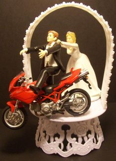 COME BACK Funny Motorcycle DUCATI Wedding Cake Topper