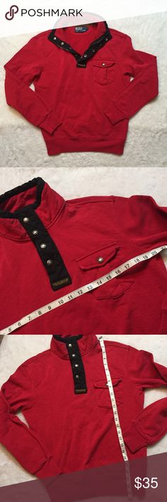 Polo Ralph Lauren small red cardigan sweater Sweatshirt material stylish!! And in great condition can be unisex as well Polo by Ralph Lauren Sweaters Cardigan