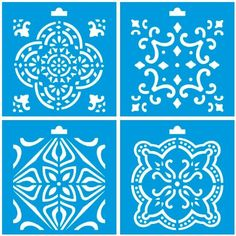 "Set of 4 - 4"" x 4"" (10cm x 10cm) Reusable Flexible Plastic Stencil for Graphical Design Airbrush Decorating Wall Furniture Fabric Decorations Drawing Drafting Template - Vintage Tile Ornament"