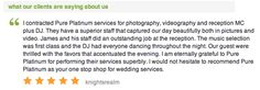 Pure Platinum Party - One of our amazing 5 star reviews from theknot.com! Check us out at www.pureplatinumparty.com #reviews #testimonials #wedding #theknot #wedding #bride #groom #weddingdress #DJ #bridalgown #weddingphotos #weddingphotography #entertainment #photography #celebrate #5stars