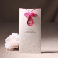 Emboss peony wedding invitation