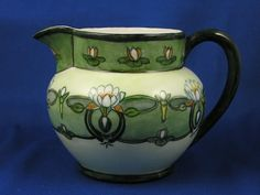 Delinieres & Co. (D&Co.) Limoges Arts & Crafts Lotus Blossom Motif Pitcher (Signed /c.1894-1910)