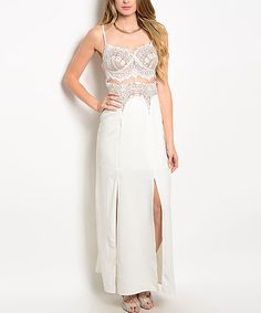 Loving this White Lace Cutout Double-Slit Sleeveless Maxi Dress on #zulily! #zulilyfinds Engagement Dress??