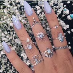 41 trendy ideas for nails coffin bling sparkle Nail Jewelry, Cute Jewelry, Boho Jewelry, Jewelry Accessories, Fashion Jewelry, Unique Jewelry, Jewlery, Cute Nails, Pretty Nails