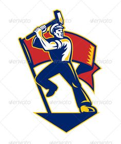 Worker With Sledge Hammer And Flag Retro