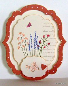 """handmade card ... shaped with layers of framelits die cuts ... Pocket Silhouettes stamped in bright colors ... from France ...Mother's Day card, but the front only says """"Merci"""" ... Stampin' Up!"""