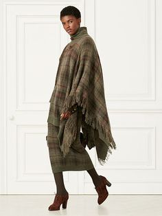 ~ Tartan Fringed Cashmere Poncho ~ Collection Apparel Turtle & Mocknecks ~ ralphlauren.com
