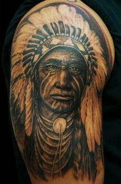 Native American Indian Headdress Portrait Tattoo By Ray Jerez @ Inborn Tattoo, NYC