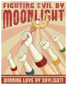 """Fighting Evil By Moonlight"" Propaganda Poster -  by: crashbanglabs 