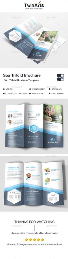 Spa Trifold Brochure Template PSD