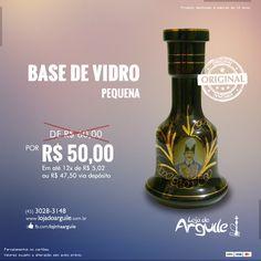 Base de Vidro Pequena De R$ 60,00 / Por R$ 50,00 Em até 12x de R$ 5,02 ou R$ 47,50 via depósito  Compre Online: http://www.lojadoarguile.com.br/base-de-vidro-pequena-para-arguile