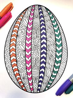 Spring Coloring Pages Pdf New Striped Easter Egg Pdf Zentangle Coloring Page Spring Coloring Pages, Easter Coloring Pages, Coloring Book Pages, Printable Coloring Pages, Easter Art, Hoppy Easter, Easter Crafts, Easter Eggs, Easter Drawings
