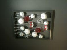 Weihnachtsdeko mal anders. Ich habe einfach das Glas und die Rückwand von dem Bilderrahmen herausgenommen und 8 Kordelschnüre mit Doppelknoten drangebunden. Daran einfach die schönsten Kugeln in verschiedenen Größen knoten, mit zwei Schrauben an die Wand hängen und die Komplimente genießen ;)