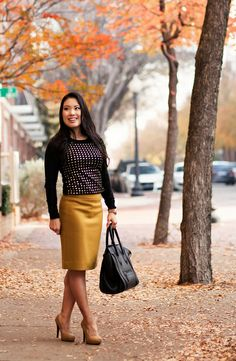cute  little blog | black gold studded sweater, j. crew mustard pencil skirt, celine mini luggage tote outfit by kileencheng, via Flickr