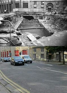 The last time the river Frome was exposed in the centre of Bristol 1971 and now (2014)