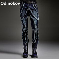 32.79$  Buy now - http://alidqm.shopchina.info/go.php?t=32779762484 - Odinokov 2017 Autumn Winter Europe Punk Style Slim Jeans Men Fashion Spliced Stage Jeans Male Street Amazing Special Pants 32.79$ #shopstyle