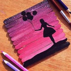 creative gift ideas original gifts wood paint girl with balons - Basteln - DIY CRAFT Cute Crafts, Craft Stick Crafts, Diy And Crafts, Crafts For Kids, Craft Sticks, Diy Crafts For Teen Girls, Arts And Crafts For Teens, Popsicle Crafts, Easy Crafts