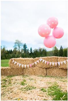 Hostess with the Mostess® - Pink and Brown Pony Party :: love the hay bales, bunting, and giant round balloons