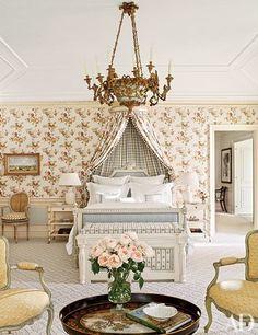 Designer David Easton enhanced this Master Suite with a ca-1790 Piedmontese chandelier...