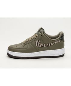 differently 94b24 9a22a Discount Cheapest Nike Air Force 1 AOP PRM Medium Olive Khaki White  Trainers Sale UK Air