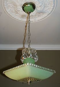 antique vintage art deco light fixture ceiling chandelier jadeite green square