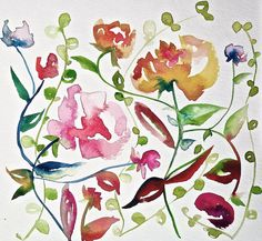 contemporary, artprint, watercolor, modern, floral, gestural, folk art, bohemian, abstract, giclee, garden, home decor, botanical, organic