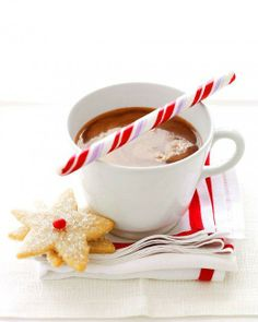 Peppermint Hot Chocolate - Crushed peppermint sticks melt into this hot cocoa to add holiday flair. Serve each mug with a peppermint stick stirrer and top with marshmallows or whipped cream if you like. Christmas Drinks, Holiday Drinks, Noel Christmas, Christmas Goodies, Christmas Treats, Holiday Recipes, Christmas Morning, Xmas, Christmas Colors