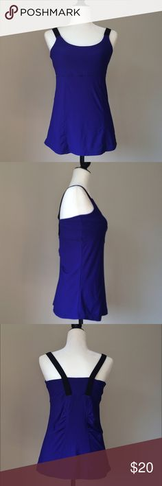 """EUC workout top Objet d'art, a New York company, great fabric and beautiful condition, worn once. For yoga classes or any other training class! Built in bra for support and...bright color for a good mood! Shoulder to hem 25"""", waist flat across 15,5"""". Fabric is a mix of nylon, polyester and spandex, has quite some stretch to it. Objet d'art Tops Tank Tops"""