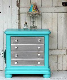 painted furniture Metallic silver with turquoise. petticoat junktion #valspar #rustoleum