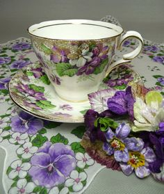 RESERVED FOR MARGARET Vintage Purple Teacup & Saucer with Hankie and Velvet Posies Tussie Mussie Corsage Pin Gift Set