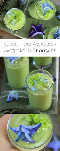Cucumber Avocado Gazpacho Shooters . Refreshing, nourishing, and oh-so-delicious! {vegan, gluten-free, low carb, paleo}