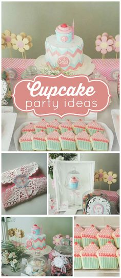 Such a pretty party! Cupcake cookies and chevron cake! See more party planning ideas at CatchMyParty.com!