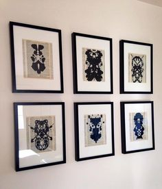 Framed Rorschach Ink Blot