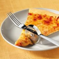 cut it with a pizza cutter, then eat it with a fork--amazing idea