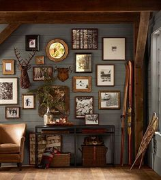 Living Room decor - rustic farmhouse style.  Gallery wall in brown wood frames and rustic decor.