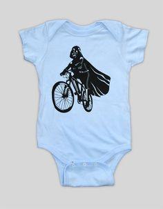 he told me he wants this.  Darth Vader is Riding It - Baby Onesie Bodysuit ( Star Wars baby boy or girl onesie ). $15.00, via Etsy.