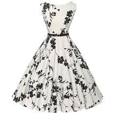 vintage das mulheres / vestido simples floral bainha / skater, rodada de algodão…