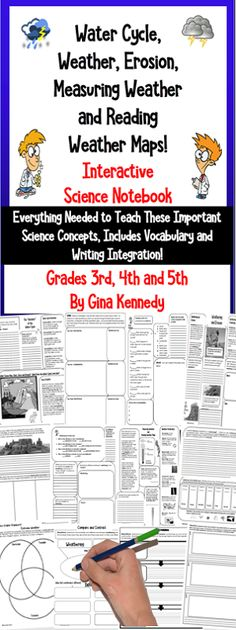 No-prep, Weather, Water Cycle and Erosion Interactive Notebook!, a complete unit with thorough lessons, vocabulary, response activities, writing activities, and assessments. The easy, engaging way to teach students about the important scientific concepts. Print and go science lessons!$