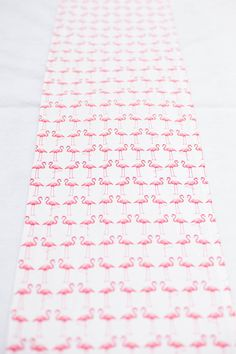 Pink Flamingo on White Table Runner by LinneaDesigns on Etsy, $20.00