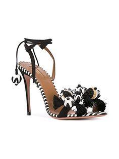 Aquazzura Femme TRPHIGSOSSUMUB Noir Cuir Sandales: Amazon.fr: Chaussures et Sacs