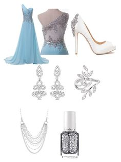 """""""Elsa, the Snow Queen"""" by kaylahca ❤ liked on Polyvore featuring Badgley Mischka, Allurez, Chaps, JoÃ«lle Jewellery and Essie"""