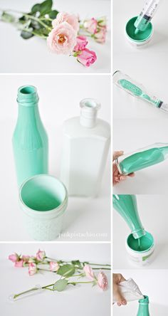 Coloring your glass jars and vases with paint. Love this color Coloring your glass jars and vases with paint. Love this color DIY // GLASS CENTERPIECESHow to Create Beautiful DIY Ideas for Painting Glass Painting Colours, Painting Glass Jars, Bottle Painting, How To Paint Glass, Diy Painting, Glass Vase, Glass Bottle Crafts, Bottle Art, Bottles And Jars