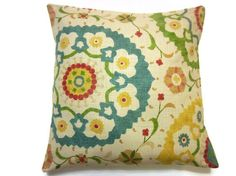 Two Yellow Green Red Blue Pillow Cover Decorative Throw Toss Accent Pillow Covers 16 inch pair., via Etsy.