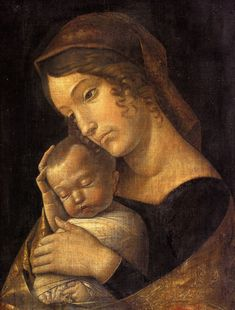 Andrea Mantegna Madonna with Sleeping Child painting for sale, this painting is available as handmade reproduction. Shop for Andrea Mantegna Madonna with Sleeping Child painting and frame at a discount of off. Renaissance Kunst, Italian Renaissance, Sculpture Romaine, Andrea Mantegna, Holy Mary, Italian Painters, Italian Artist, Madonna And Child, Madonna Art