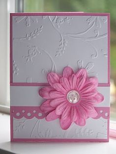 Sweet & Simple Card...with embossed paper & pretty pink flower.