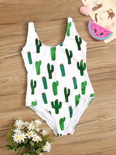 To find out about the Girls Random Cactus Print One Piece Swimsuit at SHEIN, part of our latest Girls Swimwear ready to shop online today! Summer Bathing Suits, Girls Bathing Suits, Teen Fashion Outfits, Girl Outfits, Summer Outfits, Cute Comfy Outfits, Cute Outfits For Kids, Cute Swimsuits, Women Swimsuits