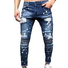 Ripped Jeans Men, Jeans Fit, Jeans Pants, Jeans Denim, Outfit Grid, Streetwear Summer, Straight Trousers, Denim Cotton, Men Casual