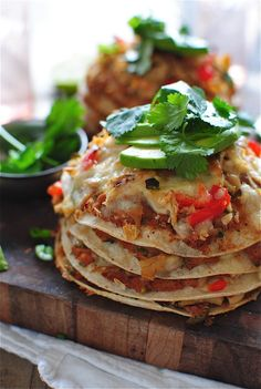 Chicken Taco Stacks by bevcooks my dinner tonight Mexican Dishes, Mexican Food Recipes, Ethnic Recipes, Mexican Pizza, Mexican Chicken, I Love Food, Good Food, Yummy Food, Yummy Taco