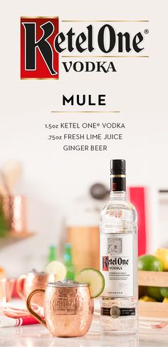 A pitcher of the Ketel One® Mule is perfect for hosting friends. This classic cocktail combines Ketel One® Vodka, ginger beer, and fresh lime juice. Served in an iconic copper mug or highball glass over ice—this mixed drink is both fizzy and fresh. For a hint of citrus, garnish it with a lime wedge.